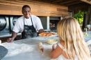 Making pizzas in North Island, Seychelles