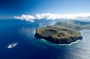 An aerial view of Easter Island